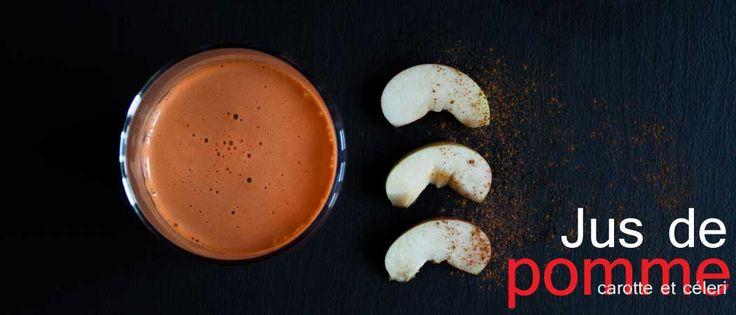 Jus de pomme, carotte et céleri. Une idée originale de cocktail délicieux pour recevoir au brunch.