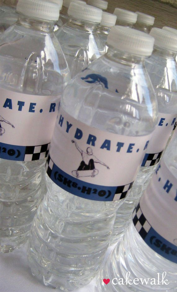 Water Bottle Label Skateboard Party by lovecakewalk on Etsy, $8.00