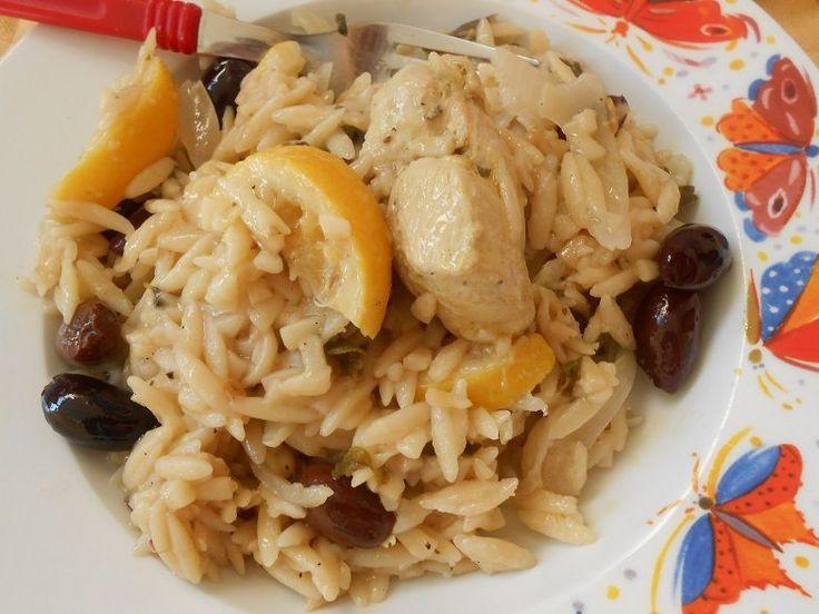 Λεμονάτο κοτόπουλο με κριθαράκι και ελιές - http://www.zannetcooks.com/recipe/kritharakikotopouloelies/