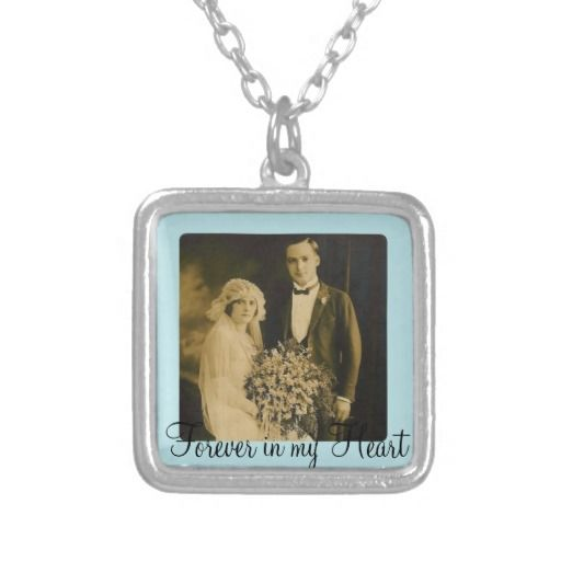 Photo Memorial Charm for Wedding Bouquet in Blue Custom Necklace