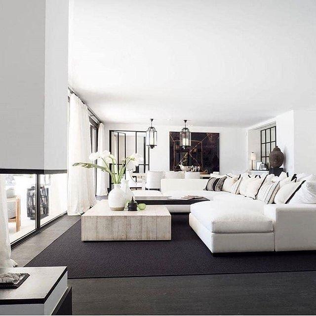 Salon gris et blanc très moderne et chic #decoration #design ...