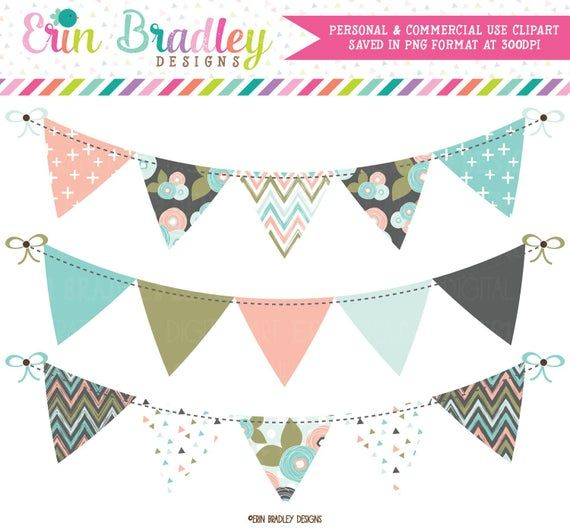 Bloom Bunting Clipart Instant Download Banner Flag Bunting Etsy In 2021 Clip Art Bunting Banner Banner