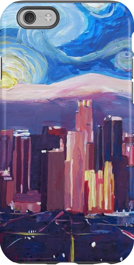 Starry Night in Los Angeles – Van Gogh Inspirations with Skyline and Mountains  / Acrylic painting • Also buy this artwork on phone cases, apparel, stickers, and more.