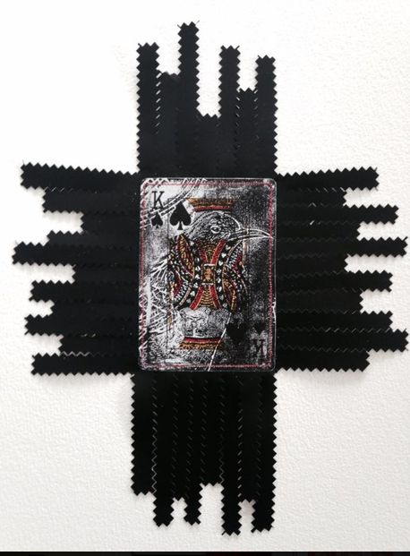 Charlotte Graham  cardshark series lino on card  Charlotte Graham, Cardshark Manu Series,  Tui/Native Bird Lino on card stitched plastic film paper, 2014  http://www.charlottegraham.co.nz