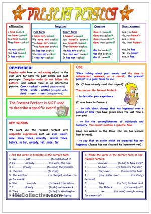A worksheet on Present perfet tense with a chart and explantion of when to use this tense. It is valuable for teaching Present perfect tense in English, and can be used for strengthening your groups' writing skills. - ESL worksheets