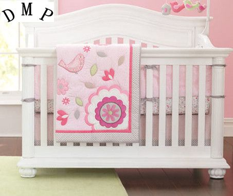 Promotion! 7pcs Embroidery flower kids 100% cotton baby crib bedding set cot bedding,include (bumpers duvet bed cover bed skirt)