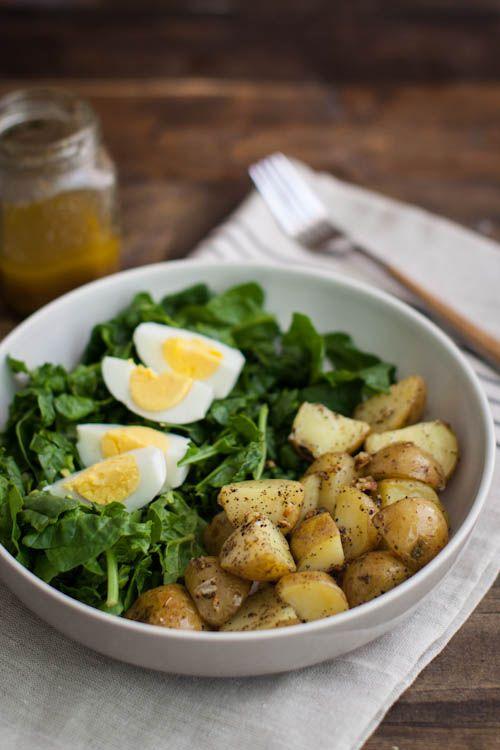 Naturally Ella | Garlic Roasted Potato, Spinach, and Egg Salad