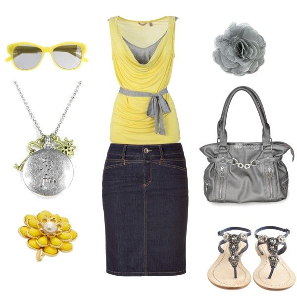Yellow & Gray. I wanttt.Summer Outfit