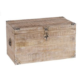 32-inch Whitewash Mango Wood Storage Chest