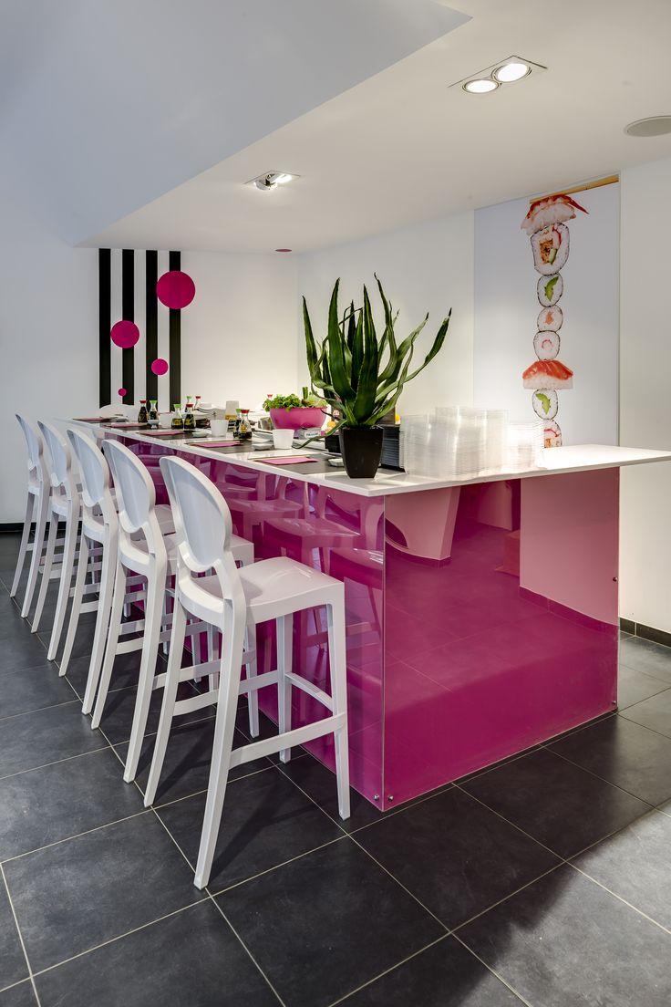 "Igloo stool by SCAB Design for ""Sushi World"" in Louvain La Neuve - Belgium"