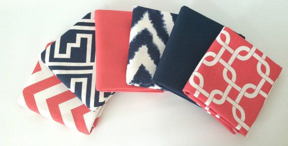 Coral Navy Pillow Cover Set - 16 x 16, Set of Six, Navy Chevron Coral Geometric Modern Cushion Covers, Nautical Cushions. Pillow Set on Etsy, $102.00