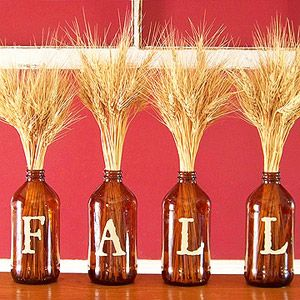 Fall decorationsCute Ideas, Roots Beer, Beer Bottle, Fall Decorations, Wine Bottles, Diy, Letters, Holiday Decor, Crafts