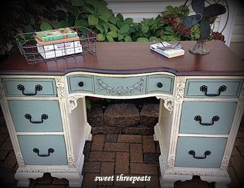 Antique Two-Toned Desk - Best 25+ Desk Redo Ideas On Pinterest Chalk Paint Desk