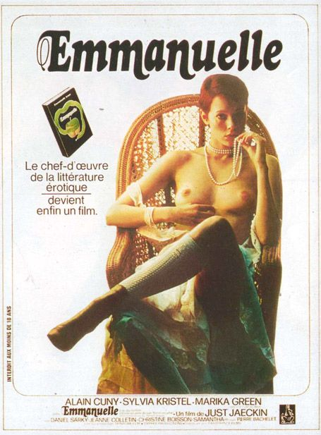 Emmanuelle, starring Sylvia Kristel, 1974. Unlike many films that tried to avoid an X-rating, the first Emmanuelle film embraced it, and became a success with a viewing audience estimated at 300 million. It remains one of France's most successful films, and played in the Arc de Triomphe theatre for over eleven years. In France and the US the film was uncut, but British censors balked at masturbation and explicit sex. Heavy cuts were made to the film.