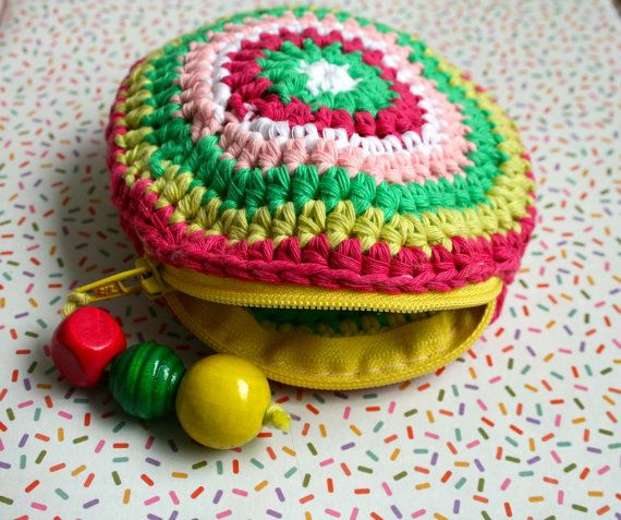 Free Crochet pattern, crochet coin purse pattern, crochet color bag pattern, granny crochet bag pattern 203 Instant Download, You only pay the