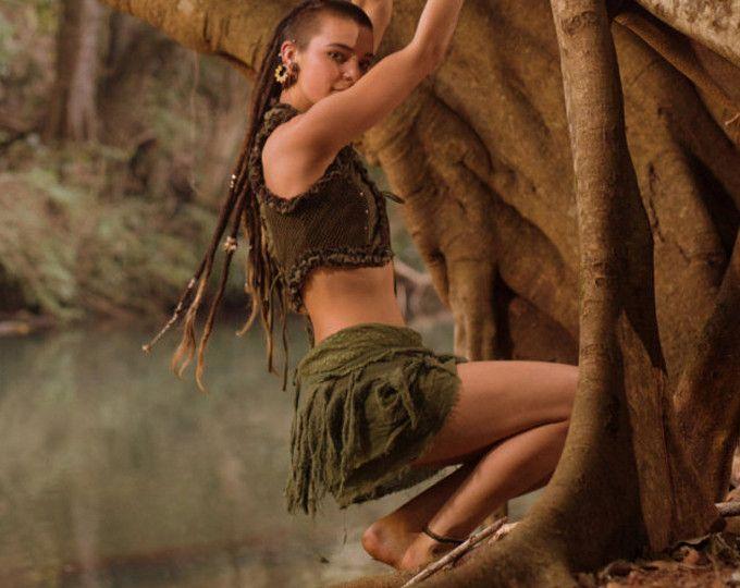 Tarzan minirok (groen) - haak Boho Wrap rond Gypsy Skirt Goa Fairy Festival Jungle riem Boheemse rok Rave Psytrance psychedelische