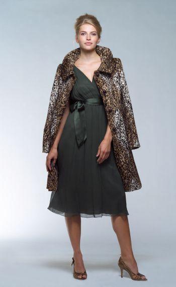 Helene Berman Faux Leopard print fur coat