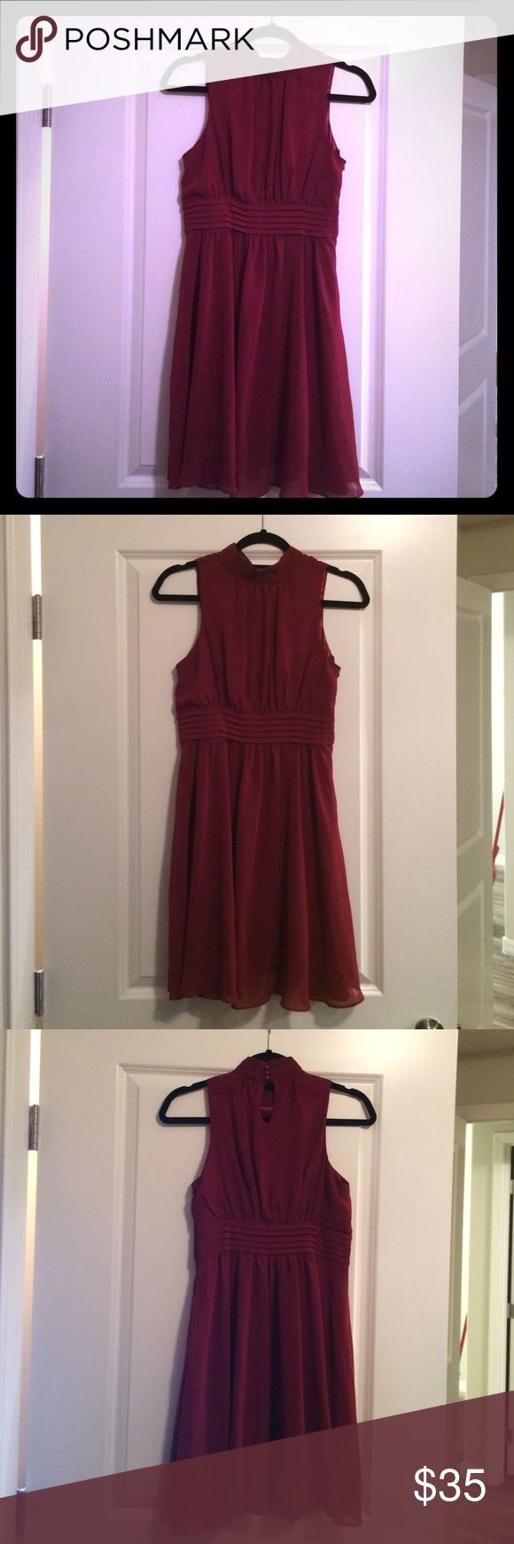 Red wine colored dress High collar red wine dress; worn once ModCloth Dresses