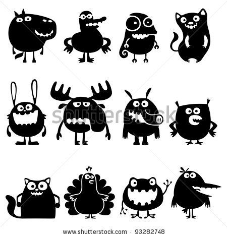 stock vector : Collection of cartoon funny vector animals silhouettes