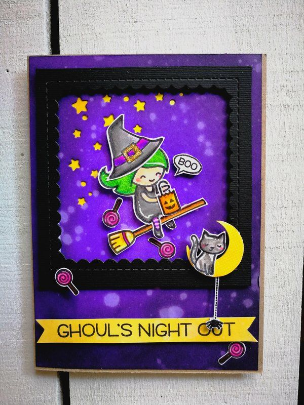 """""""GHOUL'S+NIGHT+OUT""""+HALLOWEEN+CARD - Scrapbook.com #lawnfawn #halloween #halloweencard #streghe #witches #lanottedellestreghe #distressink #ranger"""