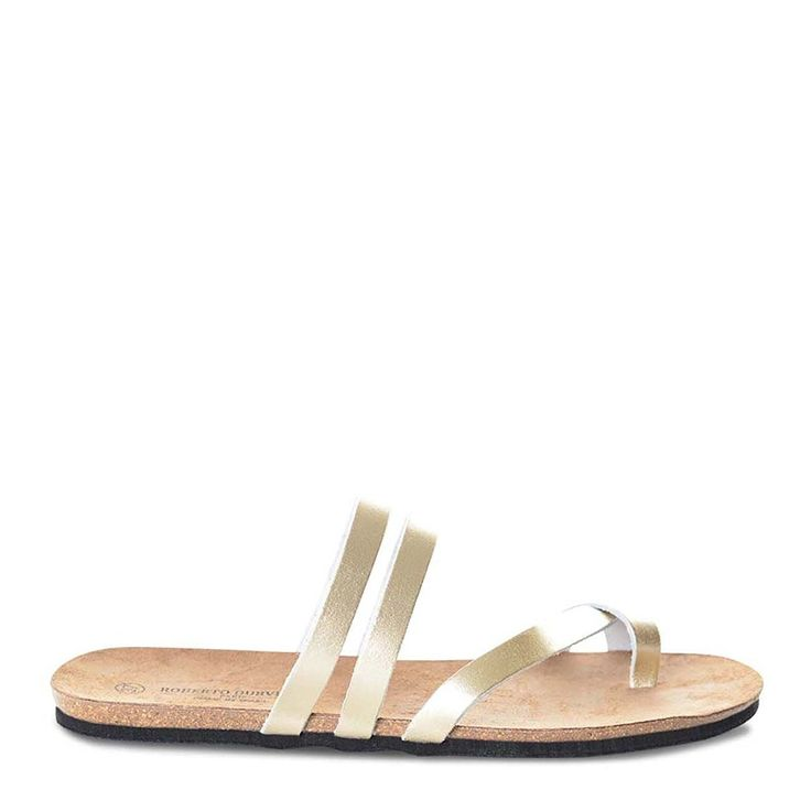 Roberto Durville Paris - Dani -Women's Gold Leather Flat Sandals 42 M EU ** You can find more details by visiting the image link.