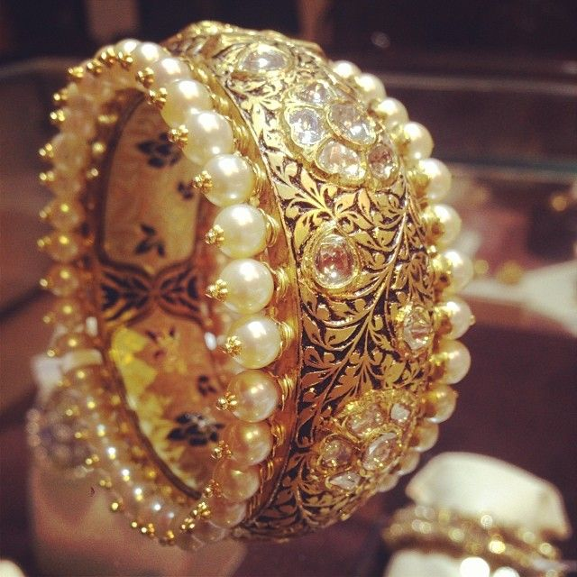 pearl and gold bangle kada