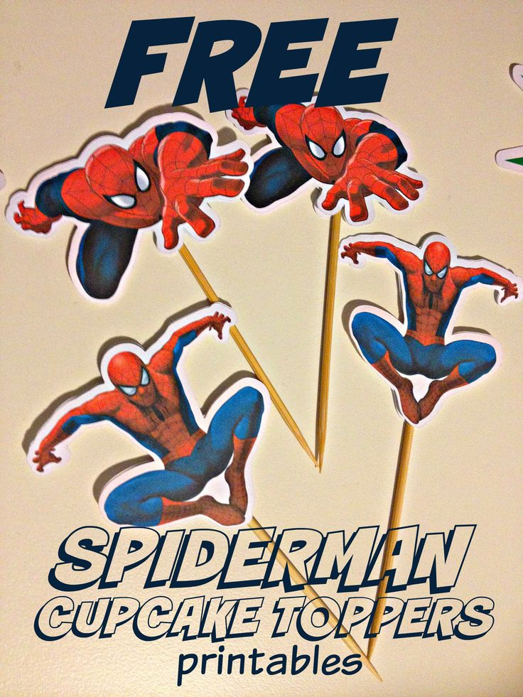 Free Spiderman and other superhero inspired cupcake topper printables.  Check out http://www.cakecrusadersblog.com/spiderman-superhero-cupcake-toppers-diy-how-to-make-at-home/
