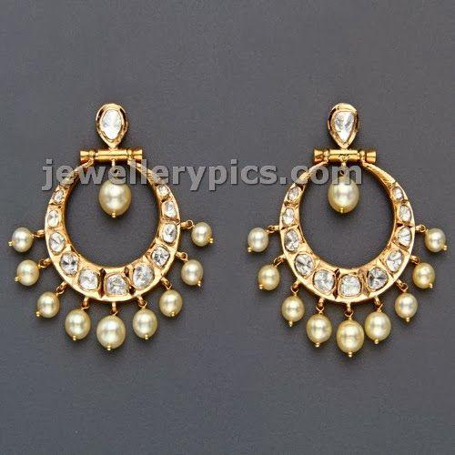 polki chandbali earrings by Mangatrai jewellers - Latest Jewellery Designs