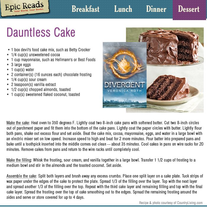 Chocolate Dauntless Cake Recipe - Inspired by DIVERGENT by Veronica Roth
