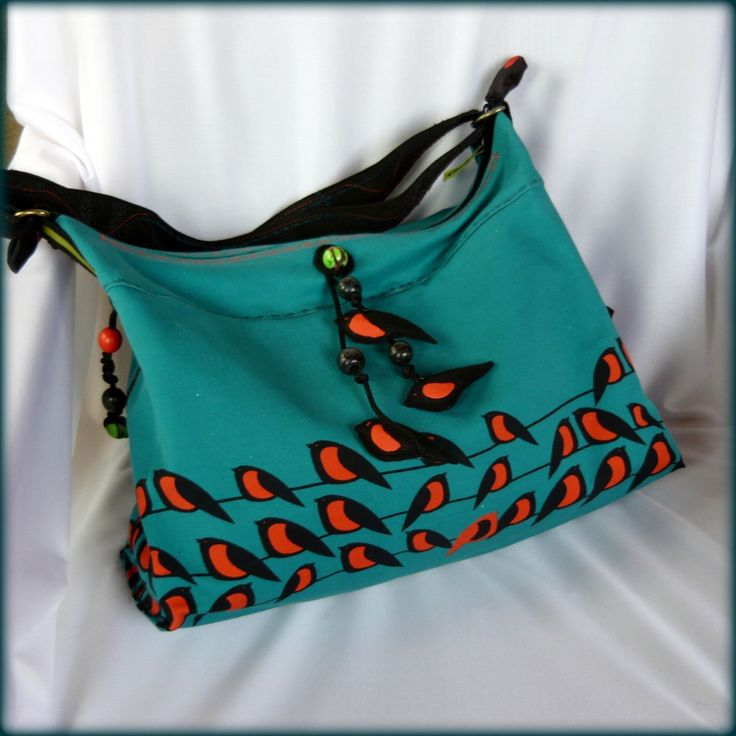Handmade by Judy Majoros - Birds turquoise-orange denim boho bag. Felt birds-beaded. Recycled bag