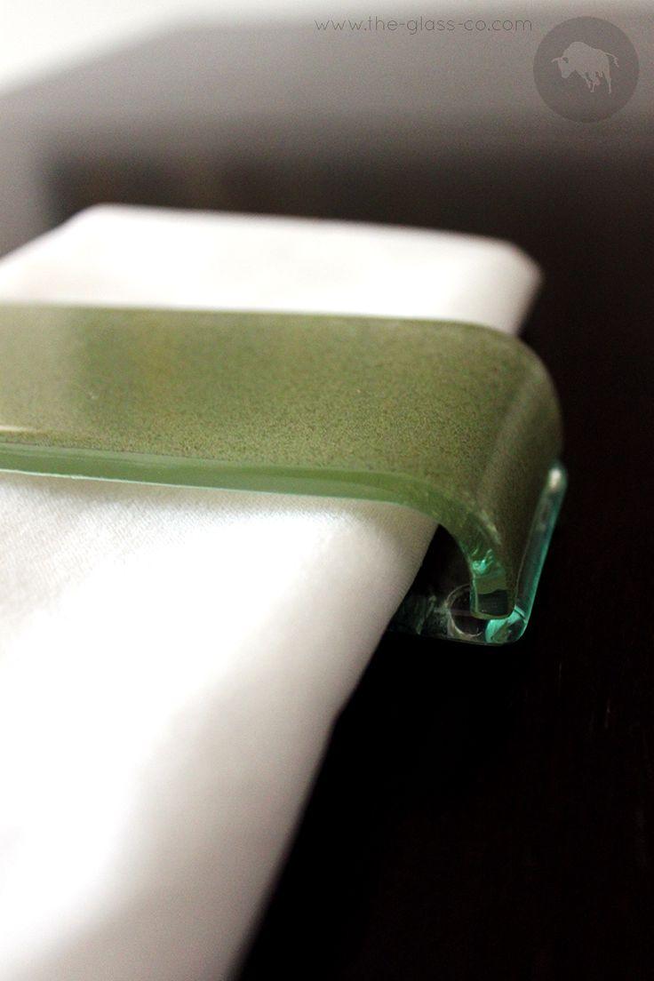 Rectangular glass napking holder for flat napking folding in light olive green color designed by www.the-glass-co.com. Code: SC-00-09-SR584 Ask us at info@myglassstudio.com