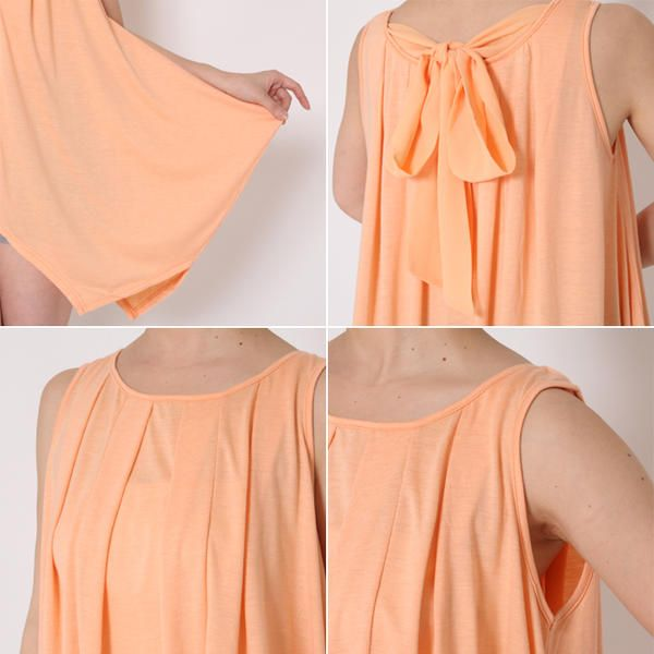 naturalbodymaking | Rakuten Global Market: Chiffon Ribbon tank A line t-shirts oversized loose tunic one piece ladies sleeveless tops drape solid tee sewn ladies ladies T shirt ladies wear fitness zumba orange black yoga long-length training dance