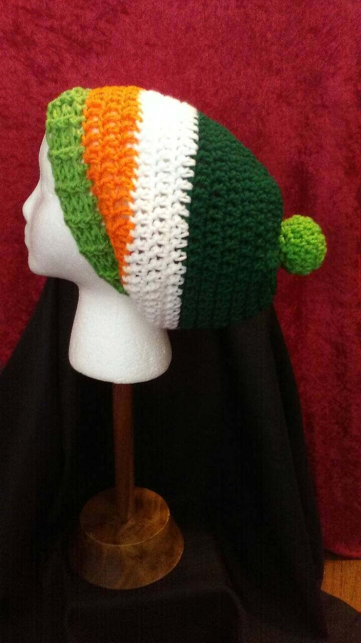 St. Patrick's Day Crochet Hat, Irish Crochet Hat, Green White & Orange Crochet Slouchy Hat, Crochet Winter Hats, Ready to Ship, B75-17-0308 by NoreensCrochetShop on Etsy