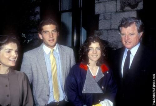 Jackie Onassis, John Kennedy Jr., Caroline Kennedy and Ted Kennedy attend John's graduation from Brown University. John Jr. earned a bachelor's degree in history from the Ivy League school located in Providence