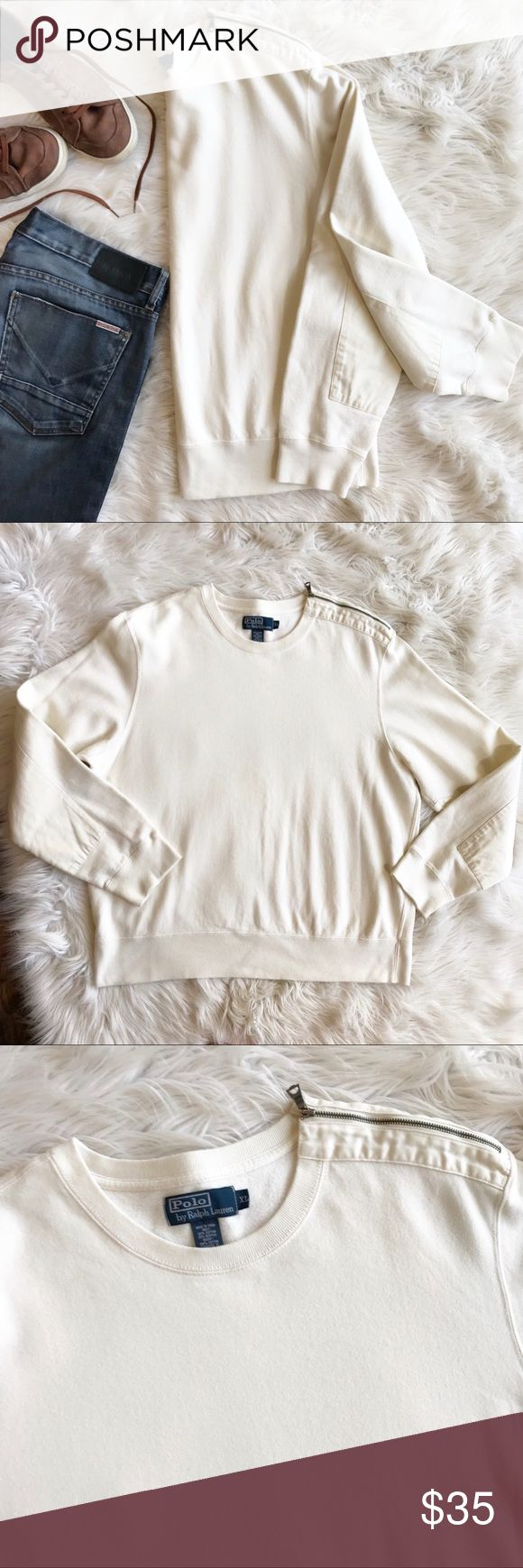 Polo Ralph Lauren sweatshirt with Shoulder Zipper Excellent condition Pullover sweaterhsirt by Polo Ralph Lauren. Cream colored with shoulder zipper on one side and patches at elbows. Size XL.  Body: 85% cotton, 15% acrylic  Insert: 100% cotton Polo by Ralph Lauren Sweaters Crewneck