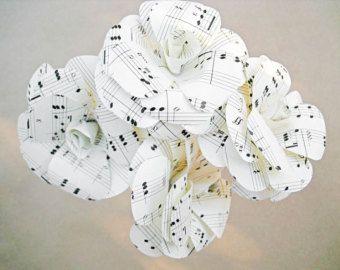 8 flores de papel flores de papel blanco flores por ThePurpleDream