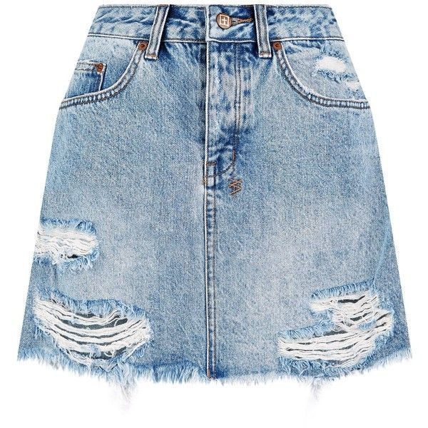 Ksubi Mini Moss Denim Skirt ($165) ❤ liked on Polyvore featuring skirts, mini skirts, faldas, distressed denim skirt, blue denim skirt, ksubi, ripped skirt and summer mini skirts