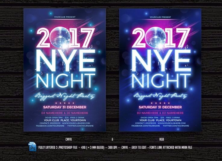 32 best 30+ 2017 New Year Party PSD Flyer Template images on - new year brochure template