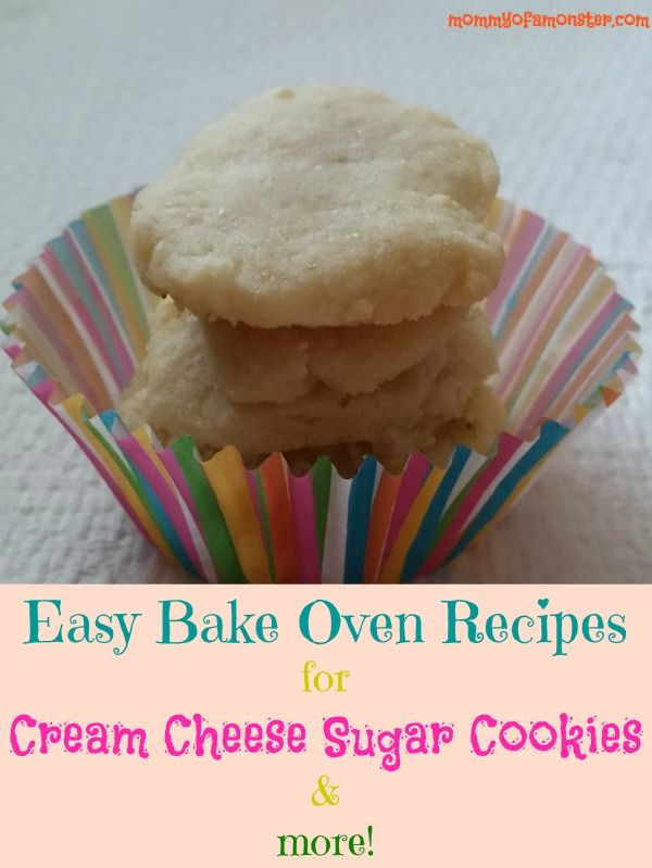 Easy Bake Oven recipes for Cream Cheese Sugar Cookies, as well as chocolate chip cookies, and a chocolate cake. Will save you a ton of money on mixes!