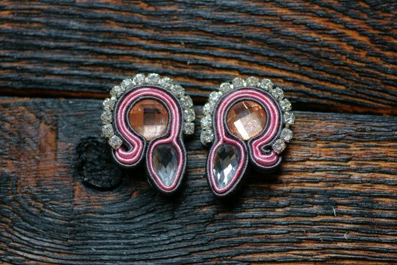 Pink and gray soutace with peach Swarovski crystals by NagualArt