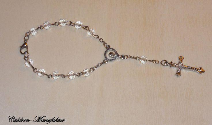 Medaillions & Amulette - 10er Rosenkranz Mini Rosenkranz Glasperlen weiß - ein Designerstück von Caldren bei DaWanda