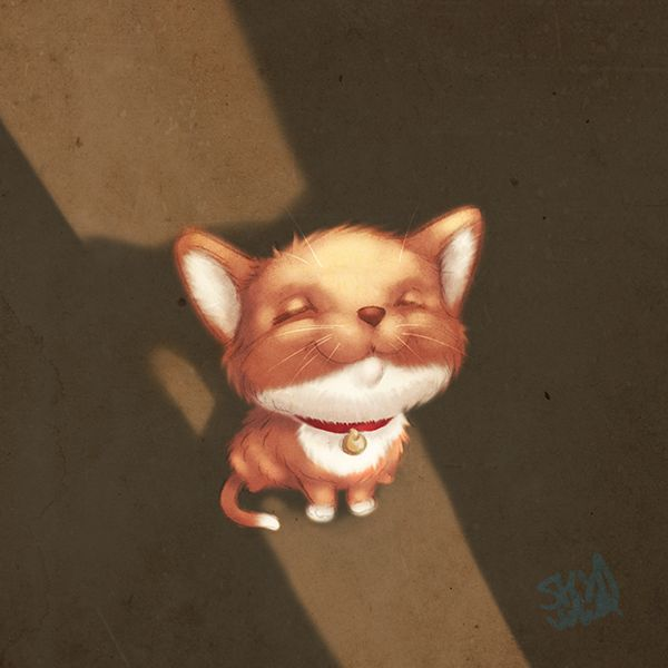 Ray of sunshine   Kittençat in the sun... enjoy even the smallest things on your path  Kids illustration by S.K.Y. van der Wel