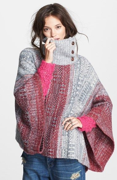 Free shipping and returns on Free People 'Willow' Poncho at Nordstrom.com. A button turtleneck, ribbed edges and a colorful geo print style this playfully oversized poncho crafted from a cozy fabric blend with hints of wool and alpaca hair.
