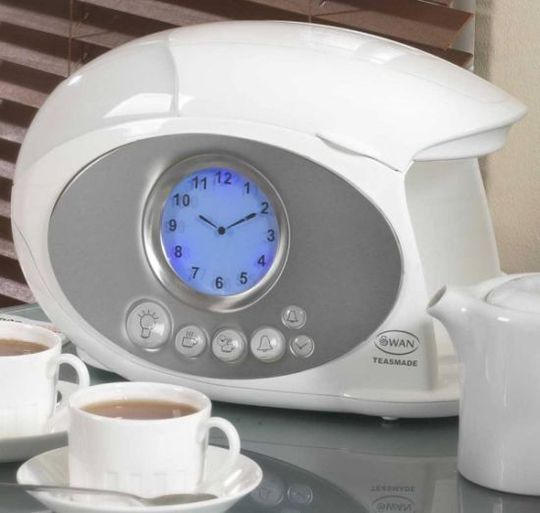 This is ingenious! An alarm clock that makes you a hot cup of tea first thing in the morning. Now if it was only available in the US...