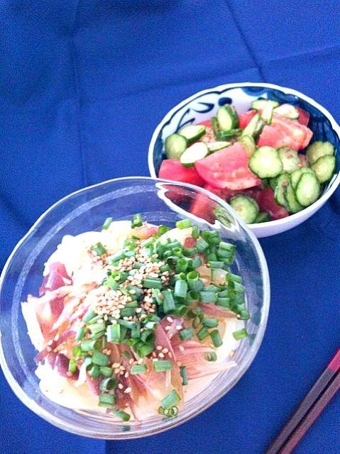 気づいたら野菜しか入ってなかった。 - 16件のもぐもぐ - 野菜サラダ、みょうがのぶっかけうどん! by yoshieem