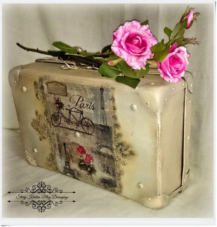 Stara walizka w starofrancuskim klimacie - Paryż wśród reliefów - Decoupage old suitcase