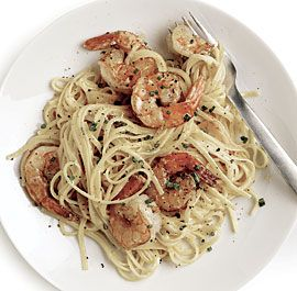 Linguine with Lemony Shrimp in a Luxurious Sauce. The Italian cream cheese, mascarpone makes this dish the creamiest.