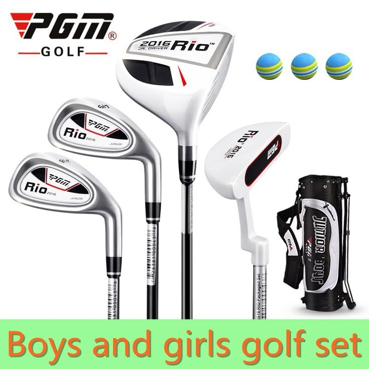 141.55$  Buy here - http://alink8.worldwells.pw/go.php?t=32210746616 - PGM 4-pieces Junior Golf Clubs Set with Bag for Kids Graphite Shaft. Better than steel shaft for kids. The safest kids golf sets 141.55$