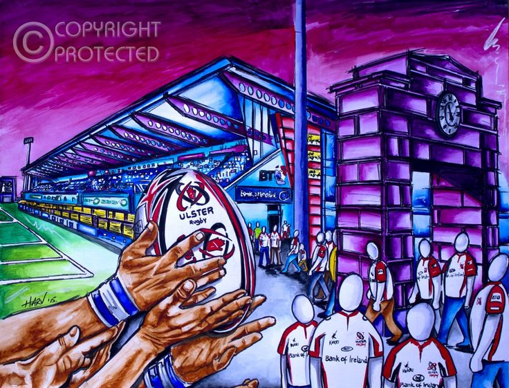 Harv's Twisted City Prints - Ulster Rugby Kingspan Belfast available at  https://harvs-twisted-art.myshopify.com/