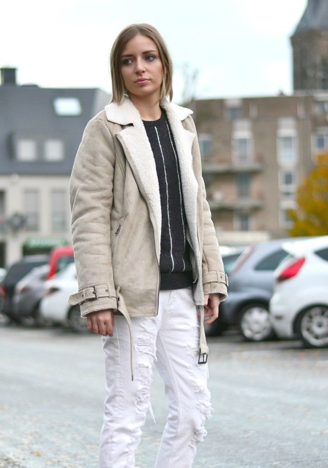 White Sheepskin Coat | Down Coat